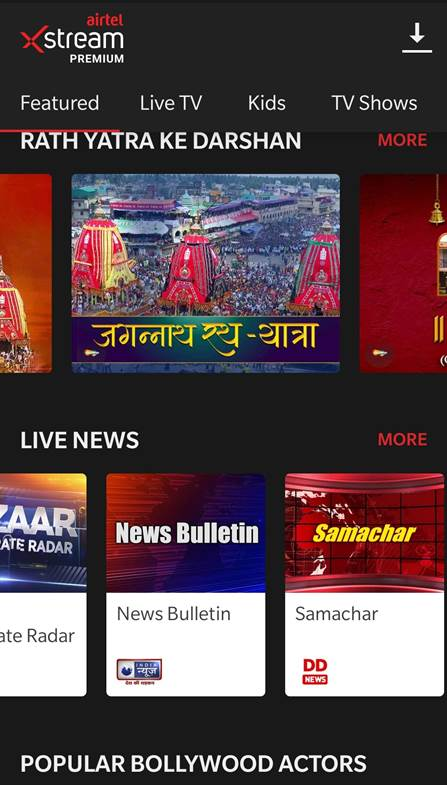 Airtel XStream app to LIVE stream Rath Yatra 2020 Airtel mobile and broadband customers can now watch the proceedings on their smartphones and tablets by simply installing the FREE Airtel Xstream app