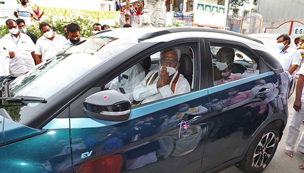 Fully electric vehicles in the direction of Tirumala as the Holy Green City