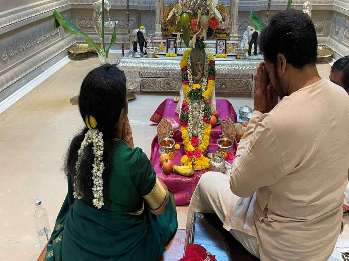 Vinayaka Chavithi celebrations at megastar Chiranjeevi house