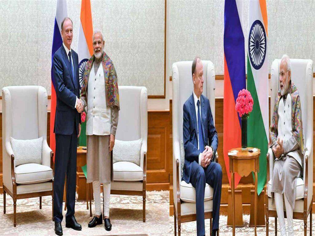 Mr.Nikolai Patrushev, Secretary of the Security Council of the Russian Federation calls on Prime Minister Narendra Modi